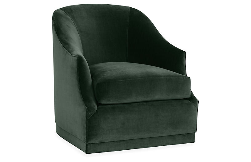 Bridget Swivel Club Chair, Forest Velvet