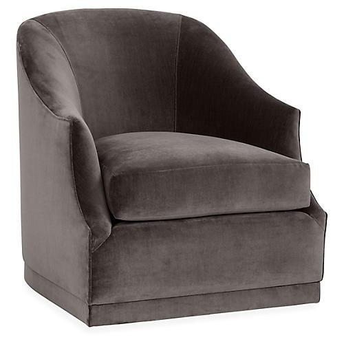Brooke Swivel Club Chair, Charcoal Velvet
