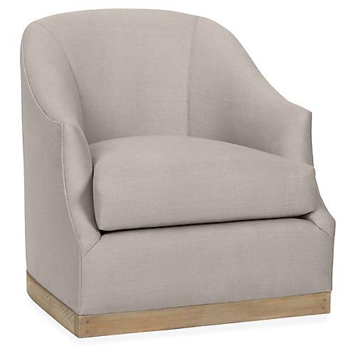 Brooke Swivel Club Chair, Gray Linen