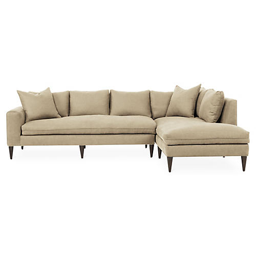 Upton Right-Facing Sectional, Dune Linen