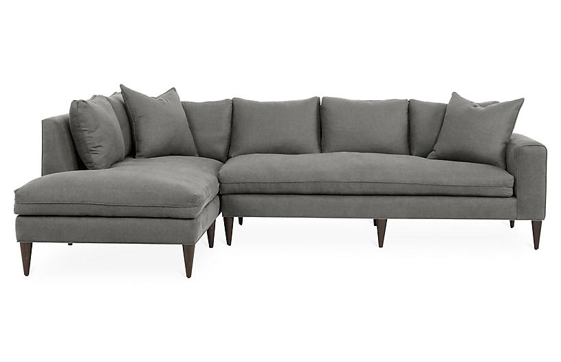 Upton Left-Facing Sectional, Light Gray Linen