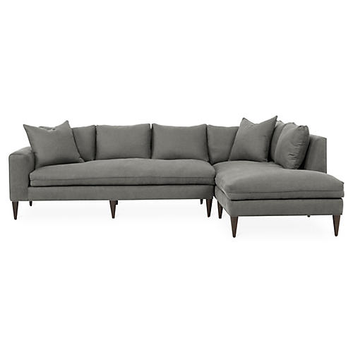Upton Right-Facing Sectional, Light Gray Linen