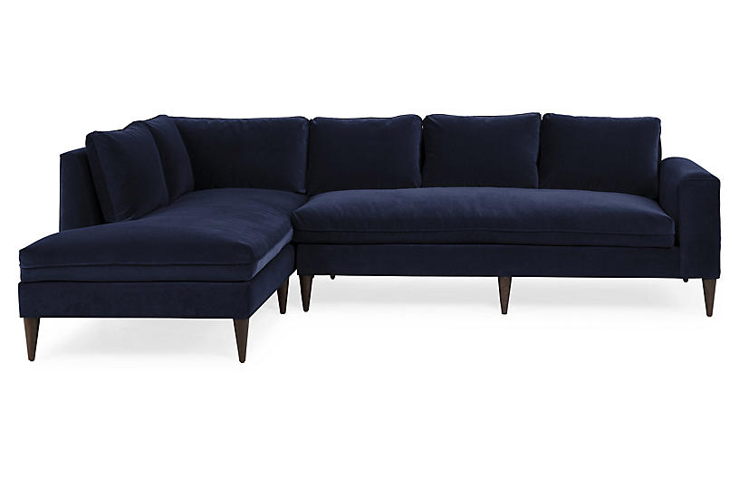 Upton Left-Facing Sectional, Navy Velvet