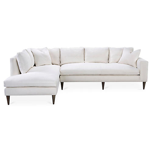 Upton Left-Facing Sectional, Ivory Linen