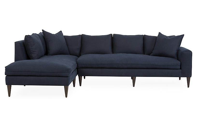 Upton Left-Facing Sectional, Navy Linen