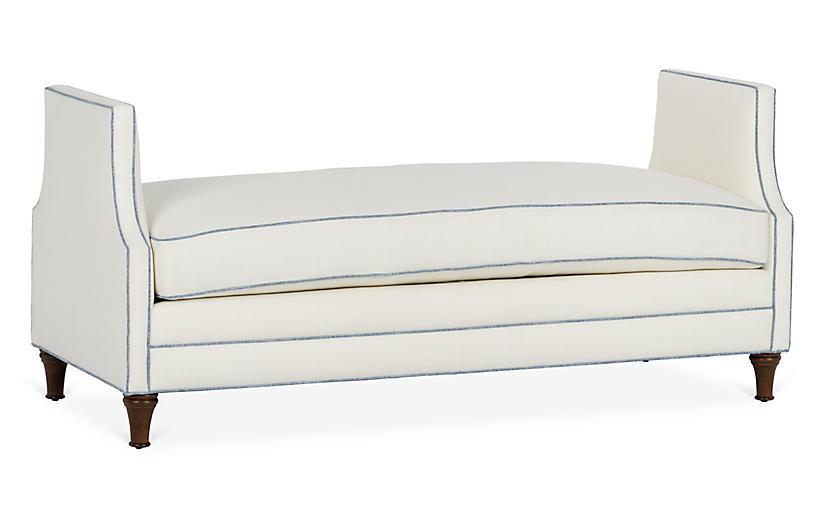 Dumont Bench, Ivory/Blue Linen