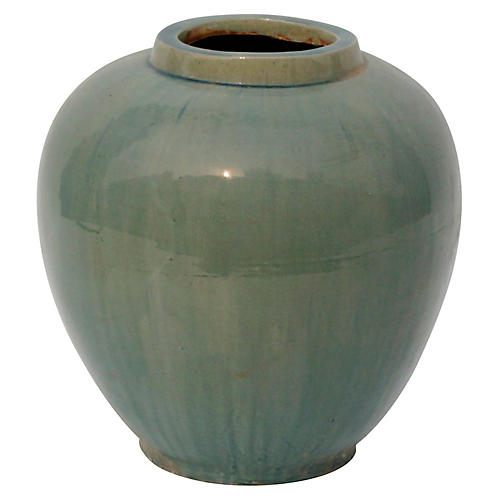 Apple-Shape Ceramic Flower Pot, Vintage Green