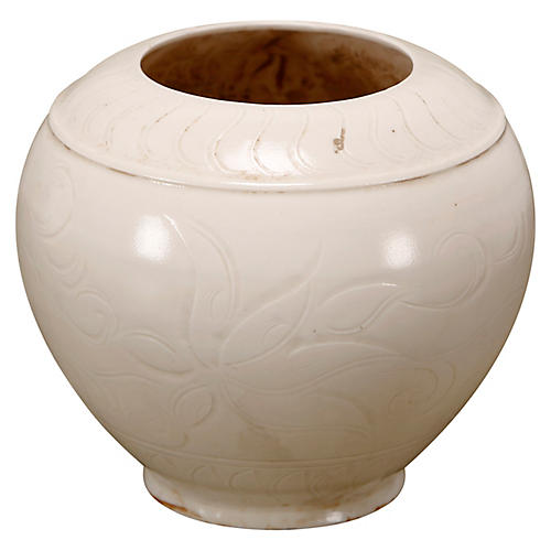 Round Glaze Pot, Ivory
