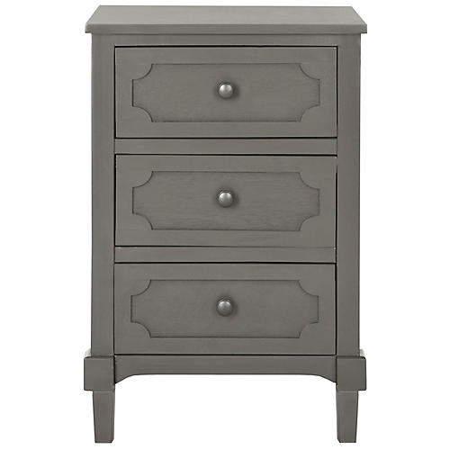 Rose 3-Drawer Nightstand, Steel