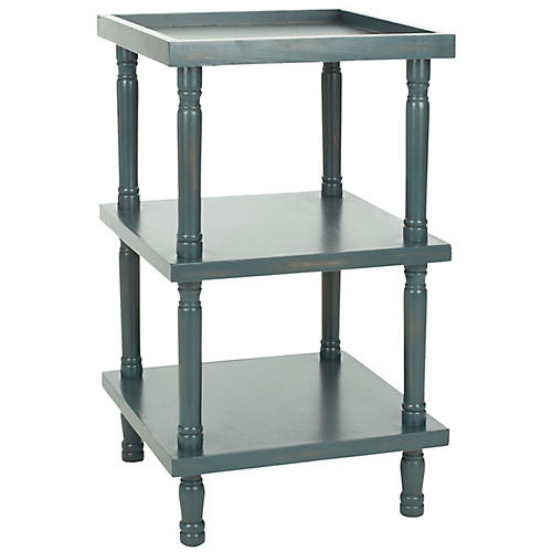 Phineas Side Table, Distressed Blue
