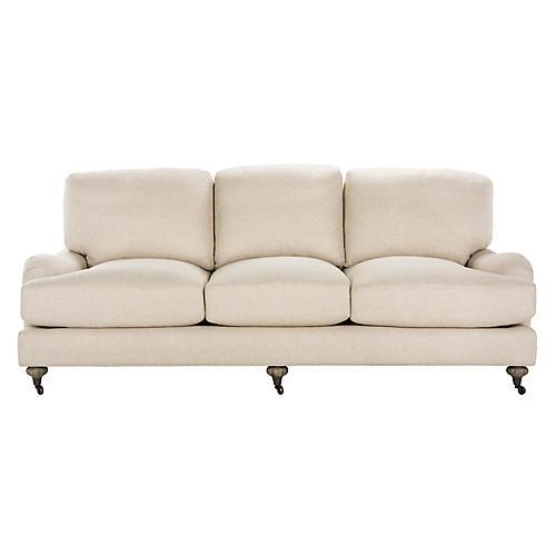 "Cedric 89"" Linen Sofa, Ivory"