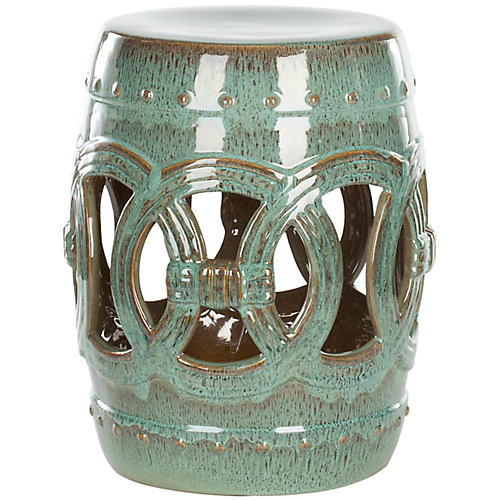 Amelia Garden Stool, Blue-Green