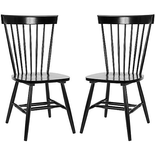 S/2 Abigail Side Chairs, Black