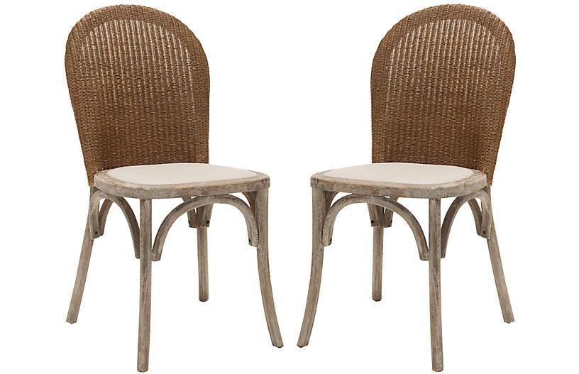 S/2 Beau Side Chairs, Beige Linen