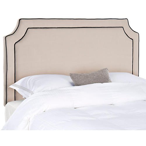 Dane Headboard, Taupe/Black Linen