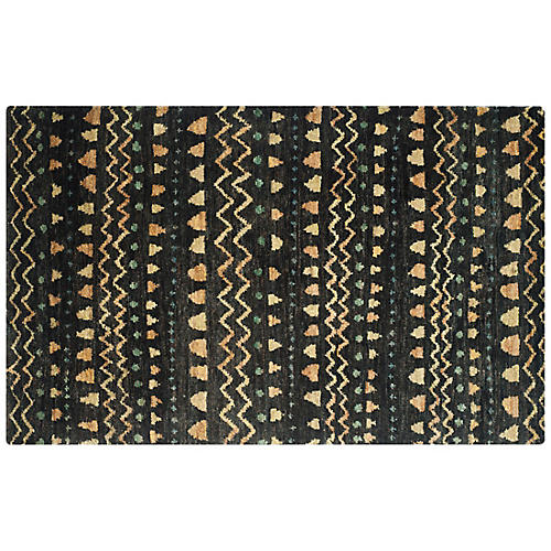 Ongo Kids' Rug, Black/Gold