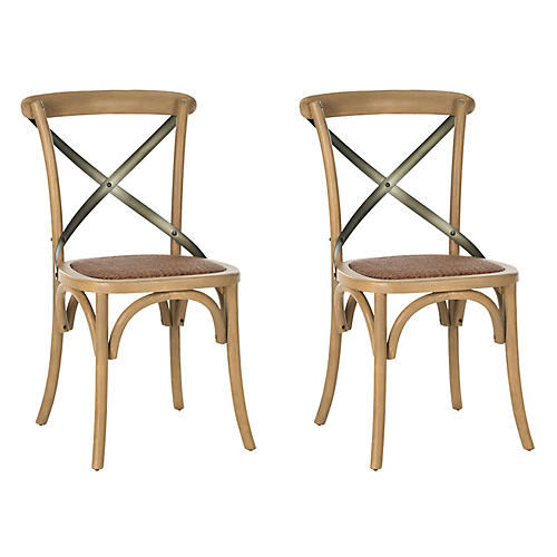 Almond Bonnie Side Chairs, Pair