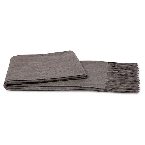 Cashmere-Blend Throw, Heather Gray