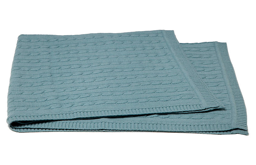 Cable-Knit Cashmere-Blend Baby Blanket, Lake