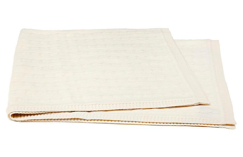 Cable-Knit Cashmere-Blend Baby Blanket, Crème Fraiche