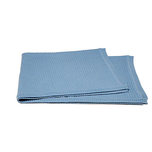 Rib-Knit Cashmere-Blend Baby Blanket, Blue