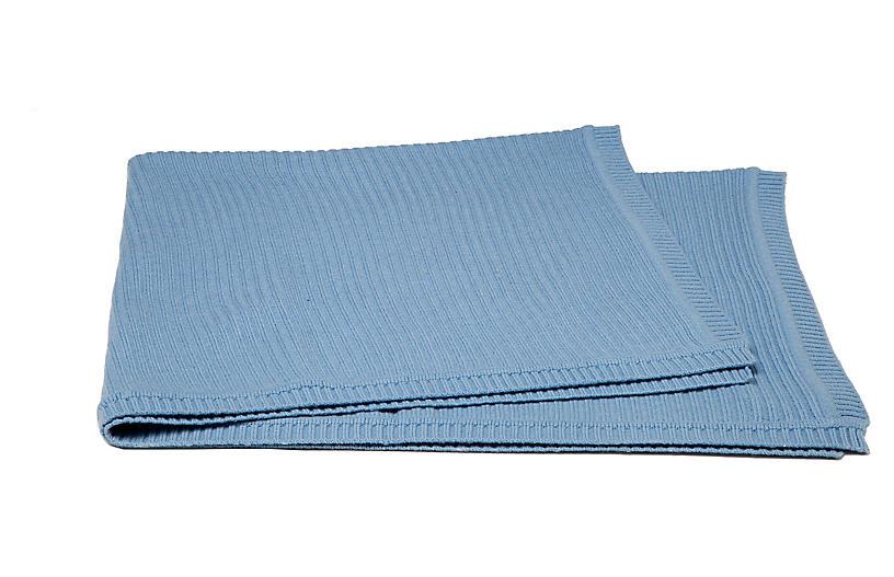 Rib-Knit Cashmere-Blend Baby Blanket, Blue
