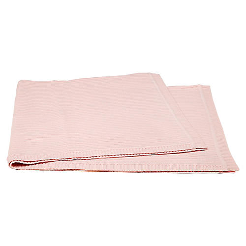 Rib-Knit Cashmere-Blend Baby Blanket, Baby Pink
