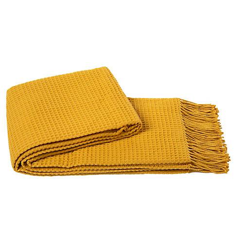 Waffle Weave Throw, Mustard