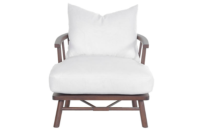 Bauer Chair, Chocolate/Ivory Linen