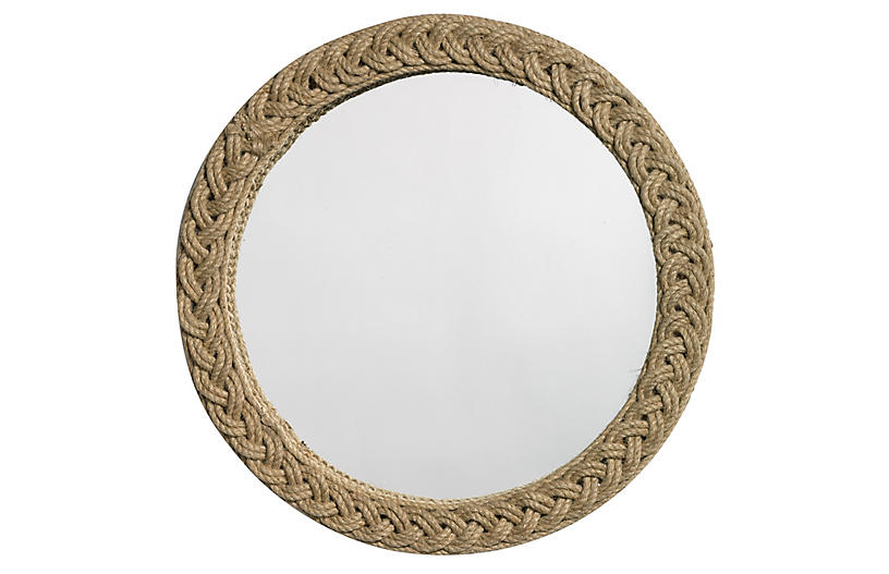 Braided Jute Accent Wall Mirror, Natural