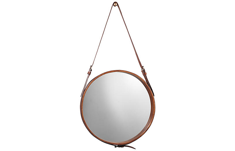 Round Leather Wall Mirror, Brown