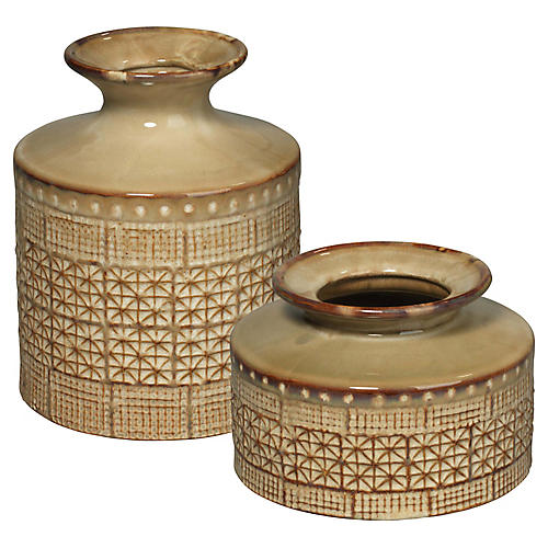 Asst. of 2 Astral Vases, Taupe