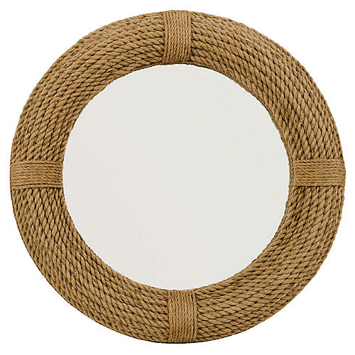 Rees Wall Mirror, Natural Rope