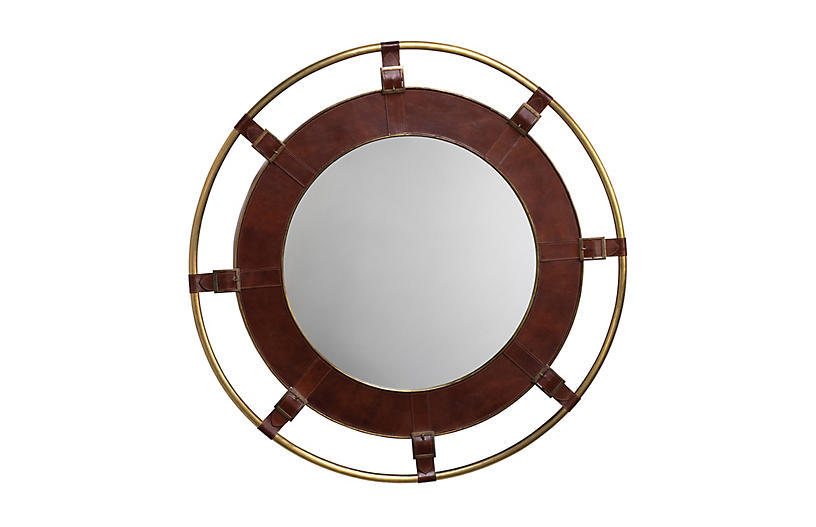Portsmouth Leather Wall Mirror, Tobacco/Gold