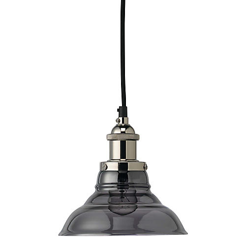 Factory Bell Pendant, Smoke/Nickel
