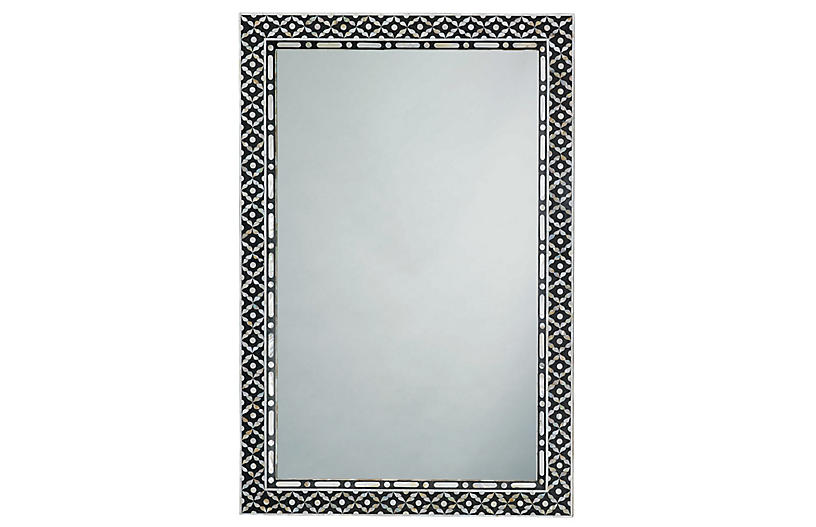 Evelyn Wall Mirror, Black/Pearl