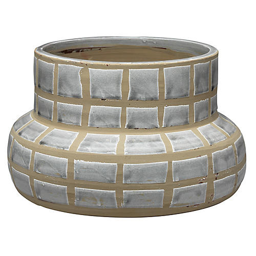 "14"" Grid Planter, Gray/Taupe"