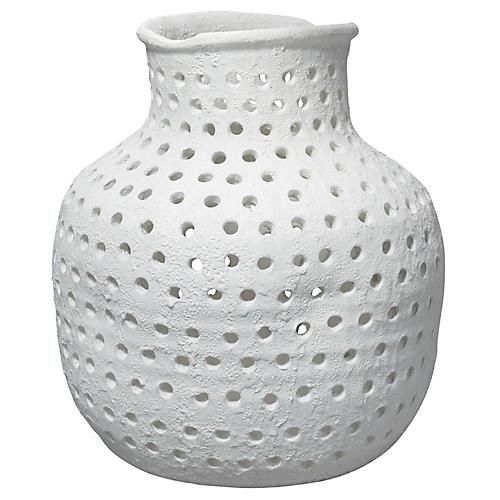 """19"""" Porous Vase, Matte White"""