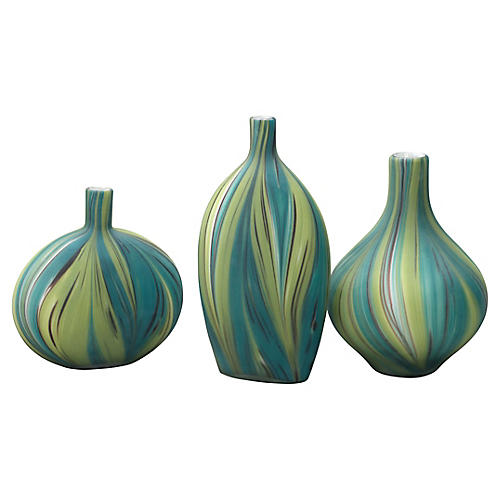 Asst. of 3 Stream Vases, Green/Blue