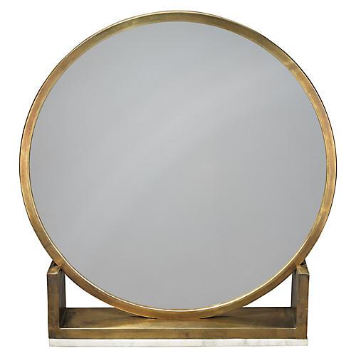Odyssey Standing Accent Mirror, Antiqued Brass