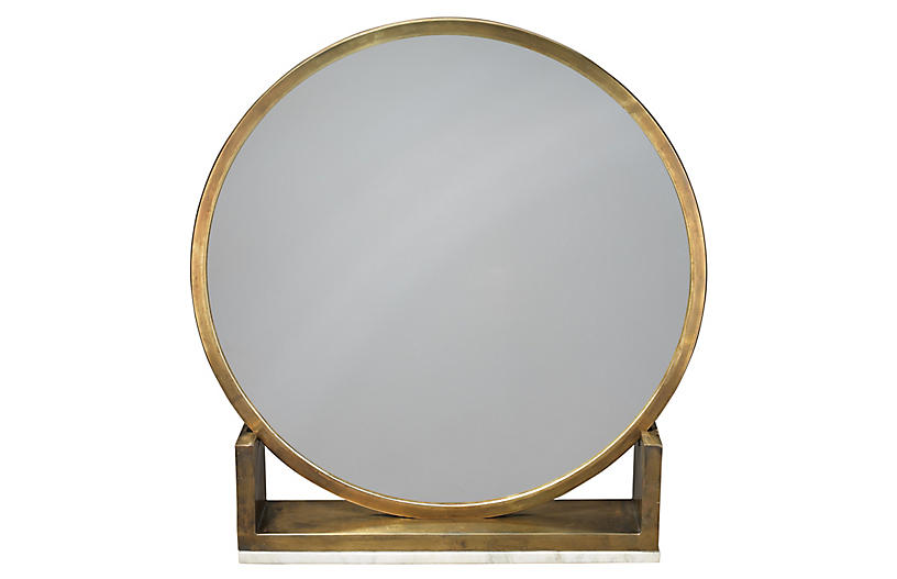 Odyssey Standing Accent Mirror, Antiqued Brass