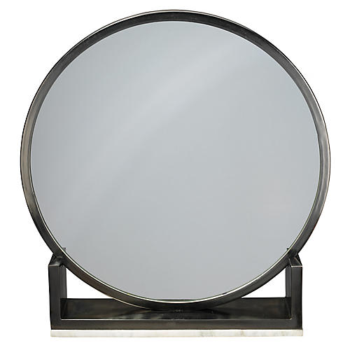 Odyssey Standing Accent Mirror, Antiqued Iron