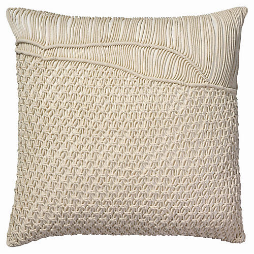 Saguaro 24x24 Macramé Pillow, Cream