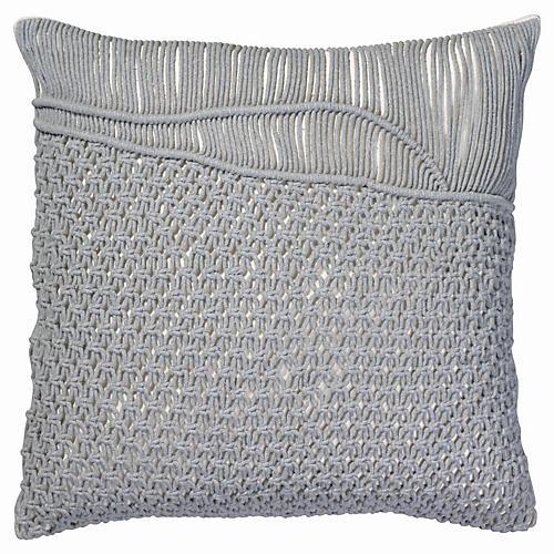 Saguaro 24x24 Macramé Pillow, Gray