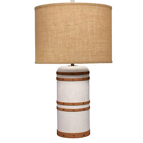 Barrel Table Lamp, White