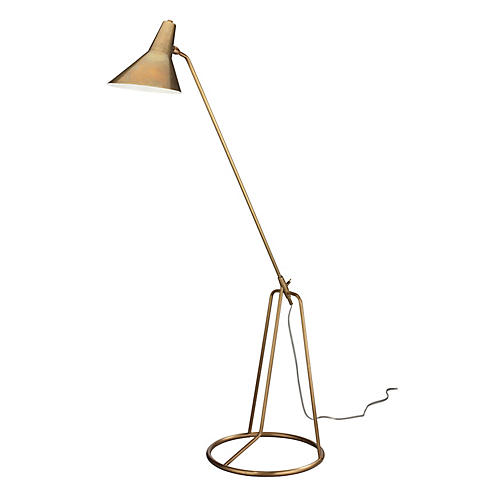 Franco Tripod Floor Lamp, Antiqued Brass