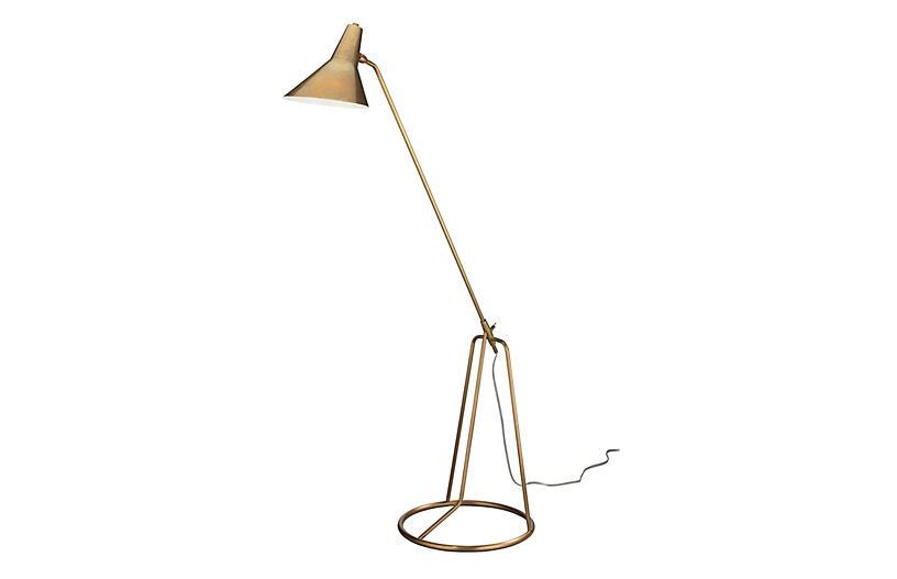 Franco Tripod Floor Lamp, Antiqued Brass
