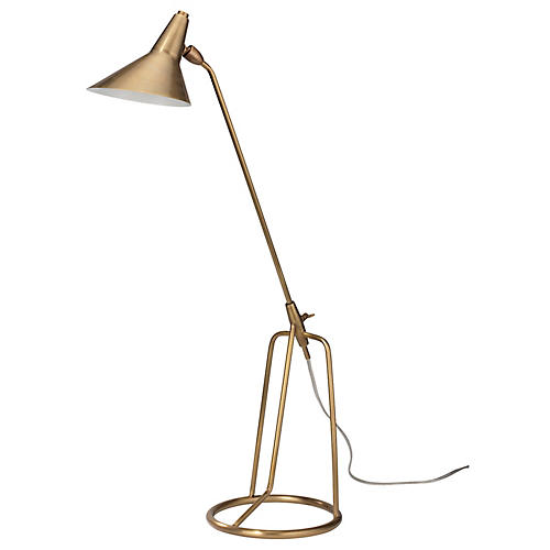 Franco Tripod Table Lamp, Antiqued Brass