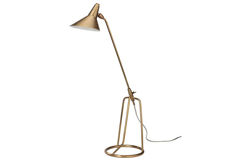 Franco Tripod Table Lamp, Antiqued Brass