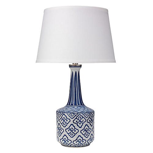 Tashi Table Lamp, Blue/White